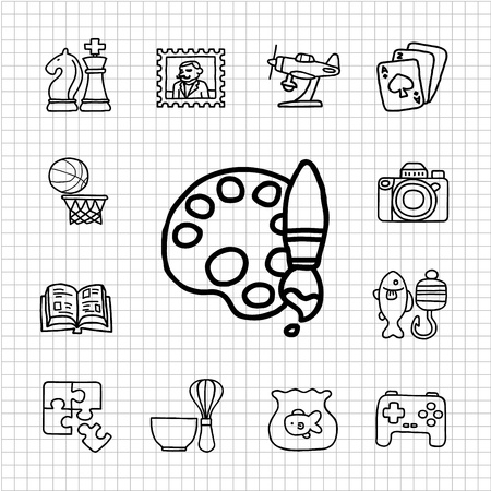 White Series - Hobby icon set Vector