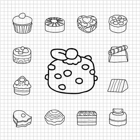 White Series - Cake,teatime icon set Vector