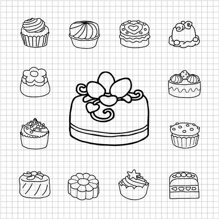 porcion de torta: Serie Blanca - Pastel, la hora del t� conjunto de iconos Vectores