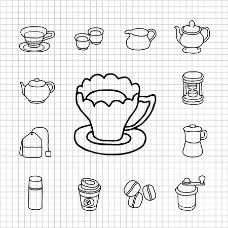White Series - Teatime,cake  icon set Vector
