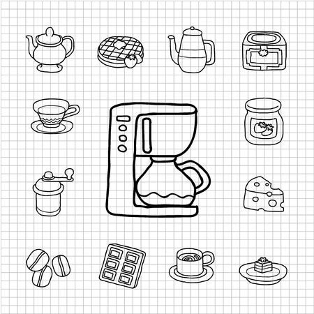 White Series - Coffee,cake  icon set Vector