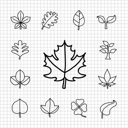 White Series - Leaf  icon set Stock Vector - 14266179
