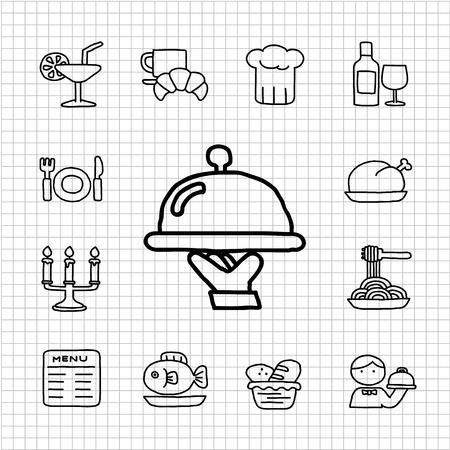 White Series - Restaurant, voedsel pictogram set