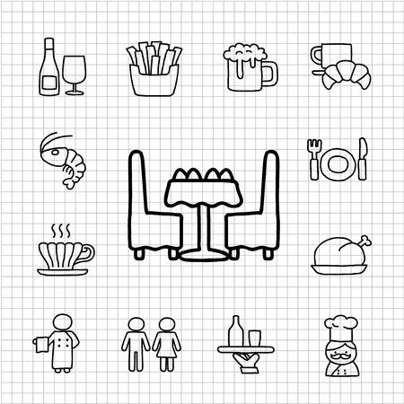 food icon set: White Series - Restaurant,food  icon set Illustration