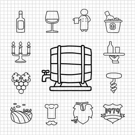 White Series - Wine  icon set Vector