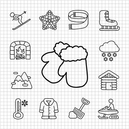 White Series   Hand drawn Country,Travel icon set Vector