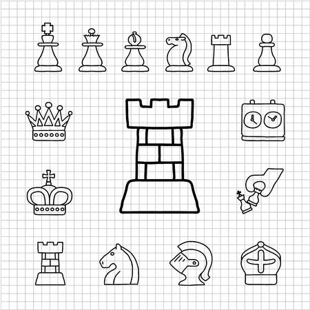 chess knight: Mano serie bianco disegnato icon set di scacchi