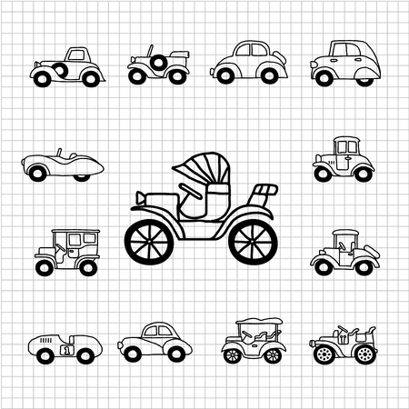 old cars: White series   Hand drawn Old car icon set