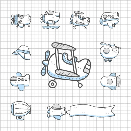 Spotless Series - Hand drawn Airplane  icon set Vector