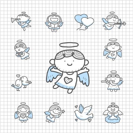 Spotless Series - Hand drawn Angel icon set Vector