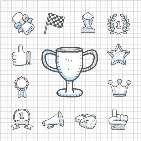 Spotless Series - Hand drawn Award,competition  icon set Vector