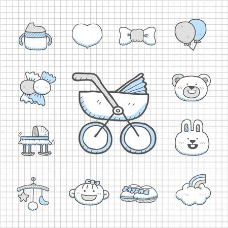 Impecable serie - Dibujado a mano de bebé, juguetes conjunto de iconos Ilustración de vector