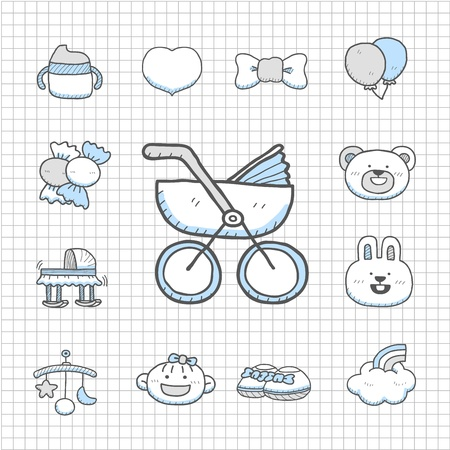 cradle: Spotless series - Hand drawn Baby,Toy icon set