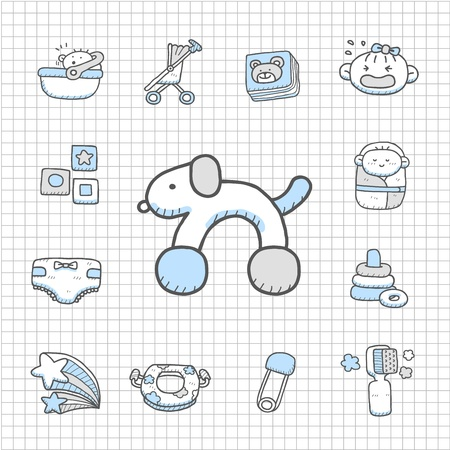 baby bath: Spotless series - Hand drawn Baby,Toy icon set