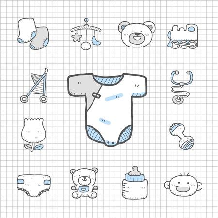 Spotless serie - Hand getrokken baby, speelgoed icon set