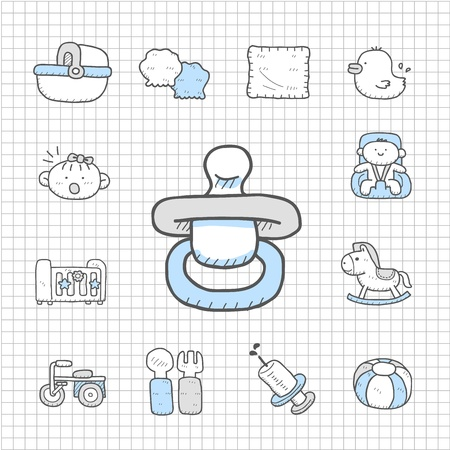 spotless: Spotless series - Hand drawn Baby,Toy icon set