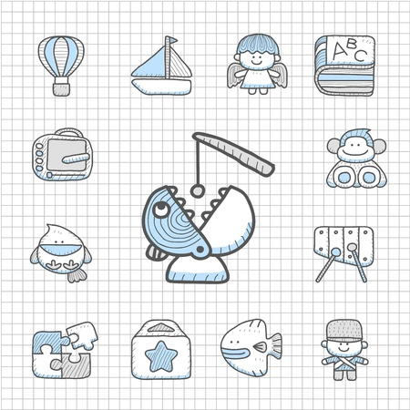 spotless: Spotless series - Hand drawn Toy,baby icon set Illustration