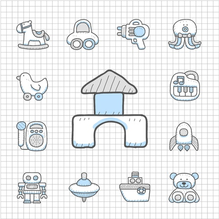 Spotless series - Hand drawn Toy,baby icon set Vector