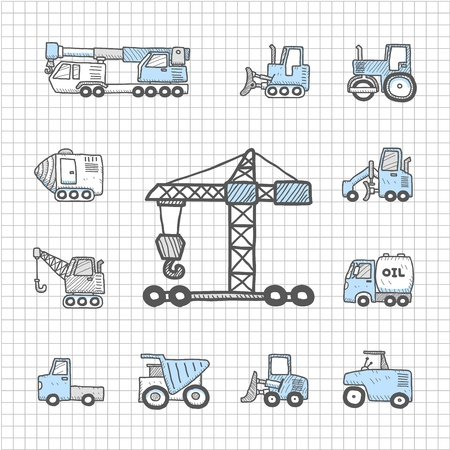 Spotless series - Hand drawn work machine,car,transportation icon set Vector