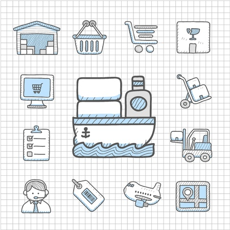 delivering: Spotless series - Hand drawn delivery,transportation icon set