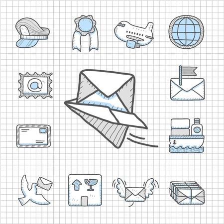 correspondencia: Impecable serie - Dibujado a mano la entrega, el transporte conjunto de iconos Vectores