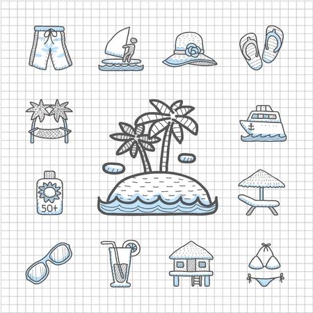 방갈로: 흠 시리즈 손으로 그린 비치, 여행, 휴가, 여행 아이콘 세트 일러스트