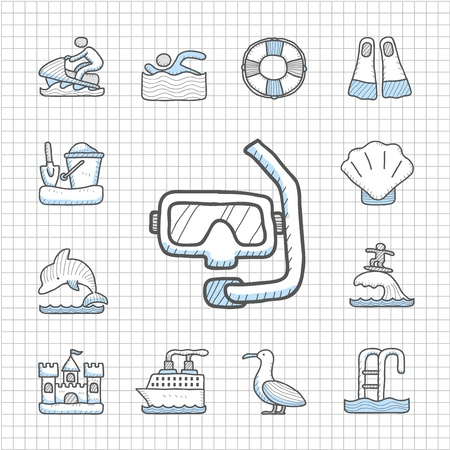 Spotless series   Hand drawn Beach, travel,vacation, trip icon set Stock Vector - 14400383