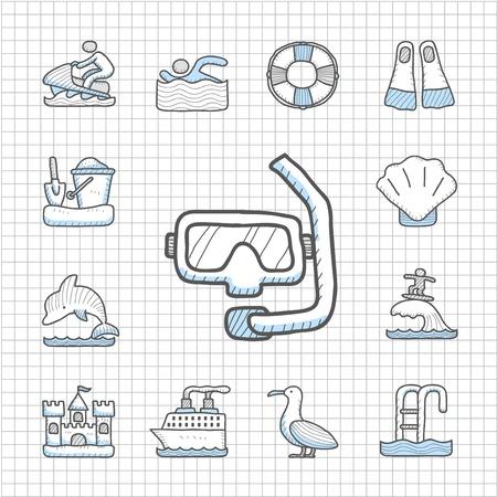 Spotless series Hand drawn Beach, travel,vacation, trip icon set
