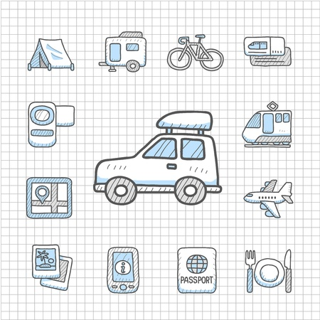 aqualung: Spotless series   Hand drawn travel,vacation, trip icon set Illustration