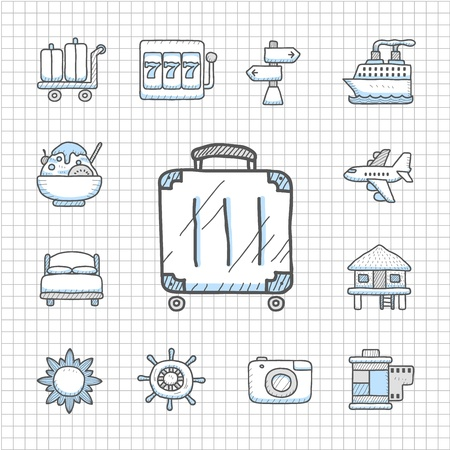 Spotless series   Hand drawn travel,vacation, trip icon set Stock Vector - 14400385