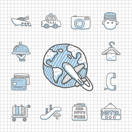 Spotless series   Hand drawn  travel,vacation, trip icon set Stock Vector - 14400389