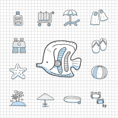 spotless: Spotless series   Hand drawn Beach, travel,vacation, trip icon set