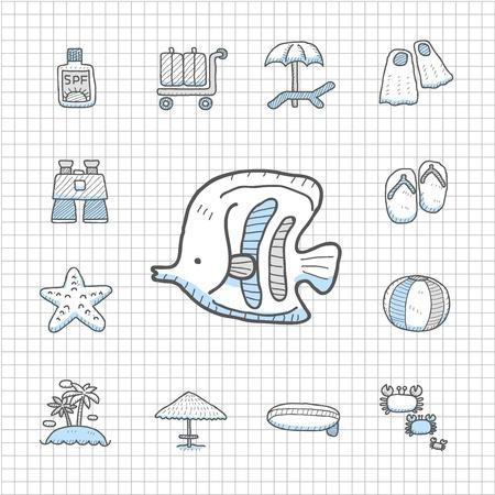 Spotless series   Hand drawn Beach, travel,vacation, trip icon set Stock Vector - 14400388