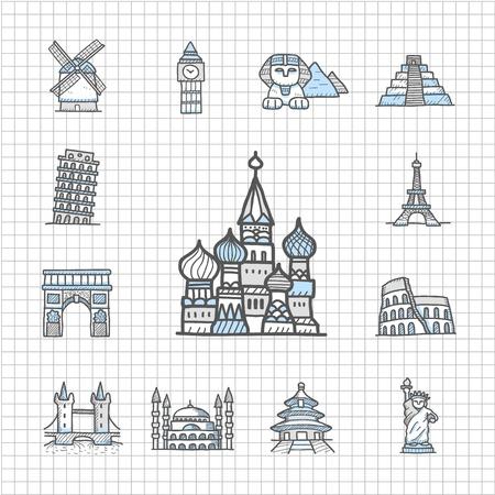 pisa: Spotless serie Getrokken Landmarks, Famous locatie, reizen, vakantie, reis icon set Stock Illustratie