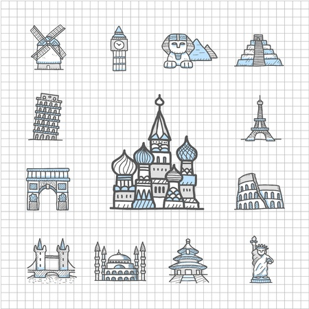 Spotless serie Getrokken Landmarks, Famous locatie, reizen, vakantie, reis icon set Stock Illustratie
