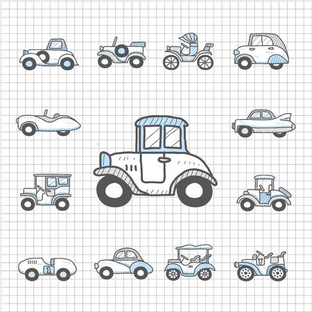 alzando la mano: Impecable coches antiguos de la serie, transporte, autom�viles, Icon Set Vectores