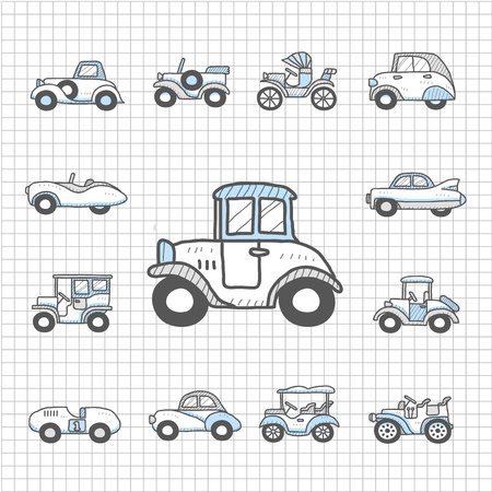 Spotless Series oude auto's, vervoer, auto, icon set Stock Illustratie