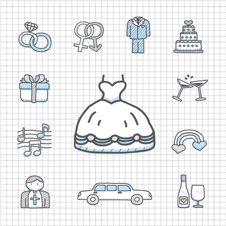 Spotless Series   hand drawn love,wedding,fashio n icon set Vector