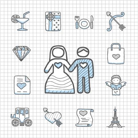 Spotless Series hand getekende liefde, huwelijk, Fashio n icon set