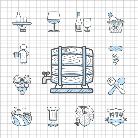 Spotless Series   Hand drawn Wine icon set Vector