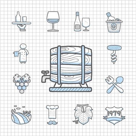 Spotless Series   Hand drawn Wine icon set Stock Vector - 14483761