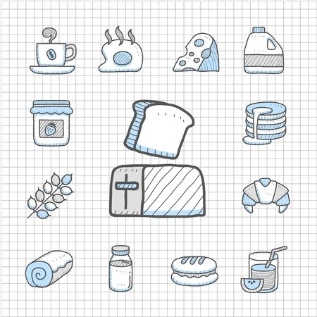 cereal bowl: Spotless Series   Hand drawn Breakfast ,food  icon set Illustration