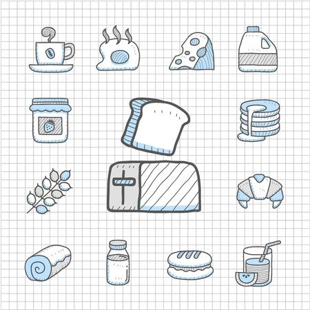 food icon set: Spotless Series   Hand drawn Breakfast ,food  icon set Illustration