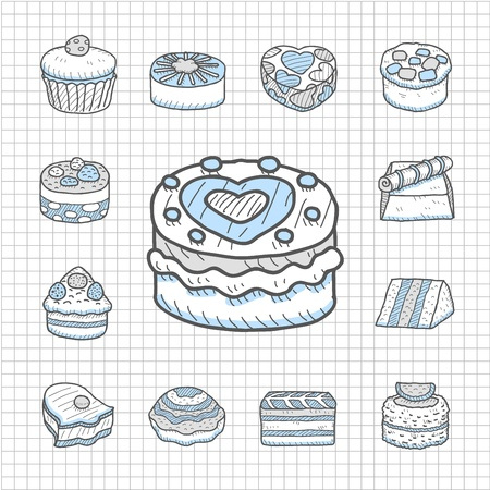 Spotless Serie Hand getrokken taart icon set Stock Illustratie
