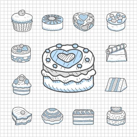 spotless: Spotless Series Hand drawn cake icon set