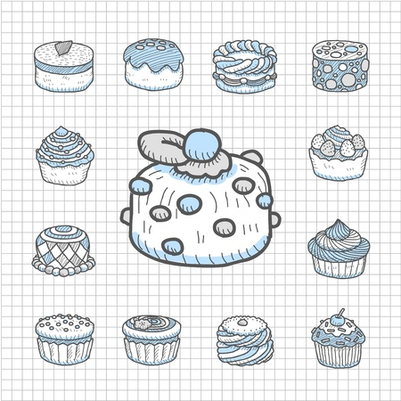 Spotless Series Hand drawn cake icon set Vector