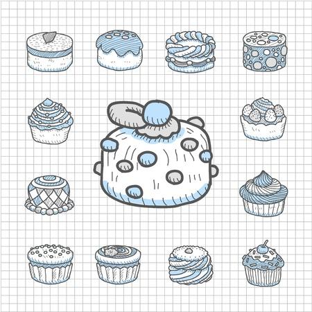 Spotless Series Hand drawn cake icon set Vector