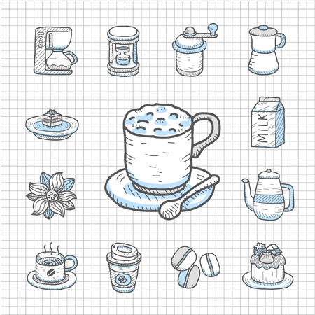 Spotless Series Hand drawn Coffee,tea icon set Vector