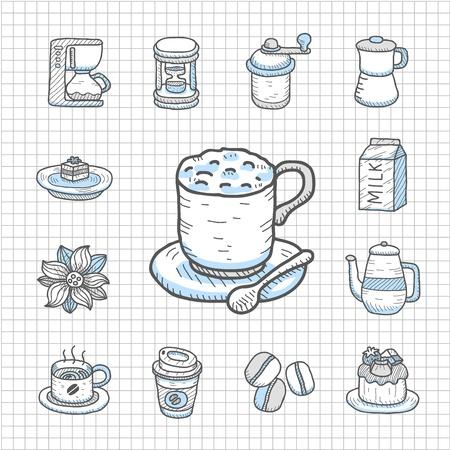 spotless: Spotless Series Hand drawn Coffee,tea icon set