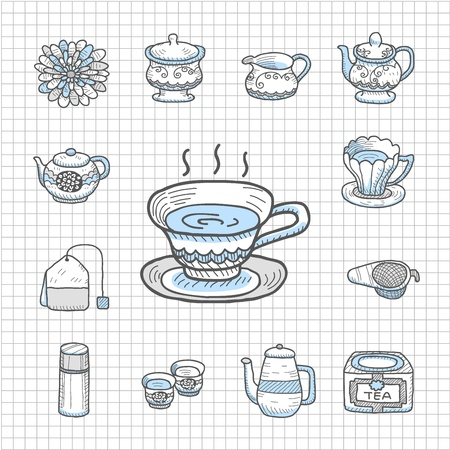Spotless Series   Hand drawn Teatime,tee  icon set Vector